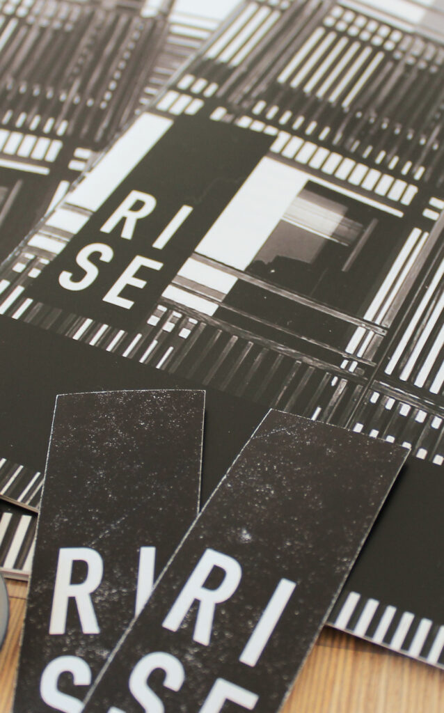 RISE project materials – report and catalogue cover and stickers