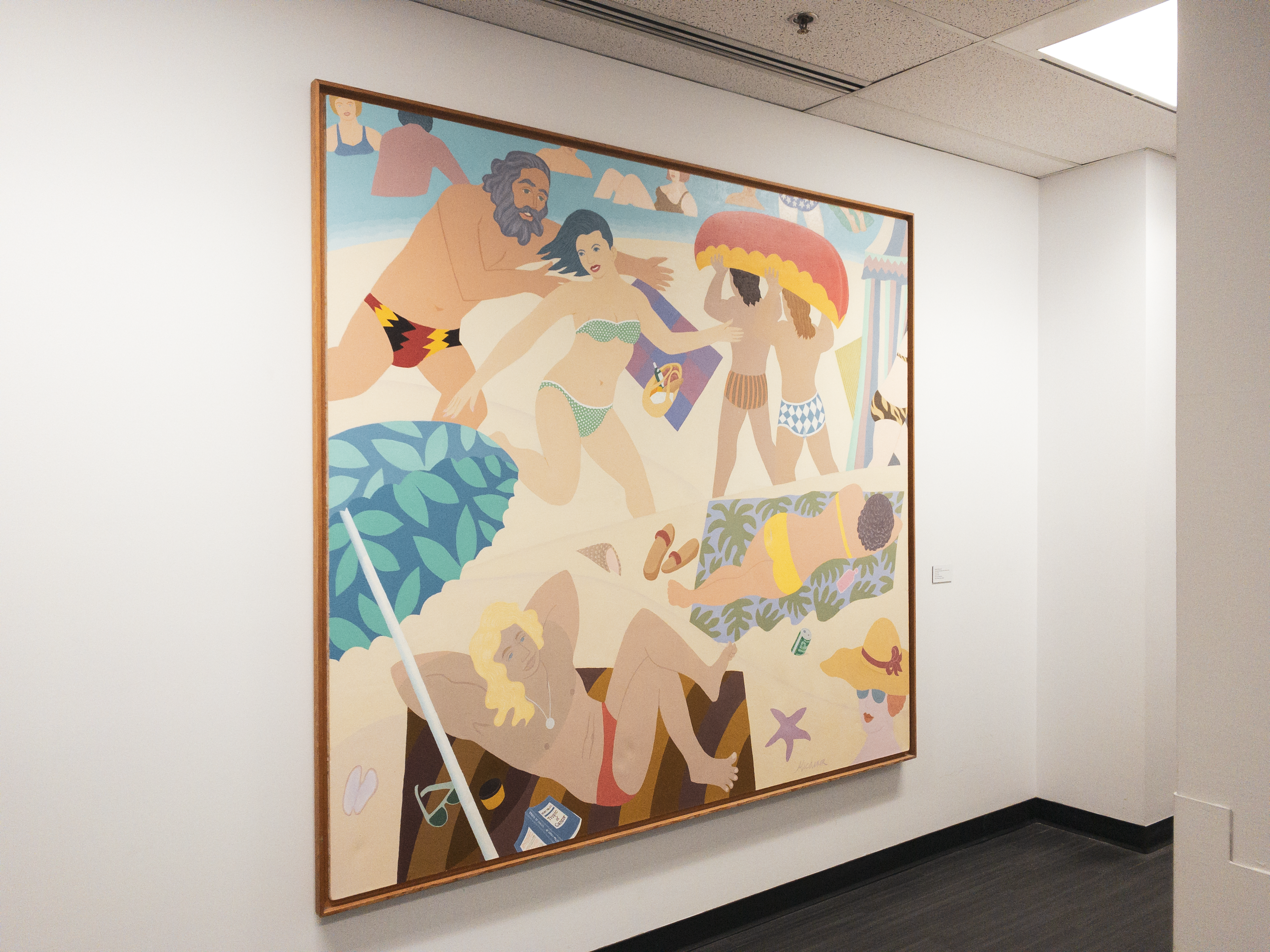 Robert Michener painting 'The Good Old Days Were Never Like This' hung in SFU Harbour Centre hallway