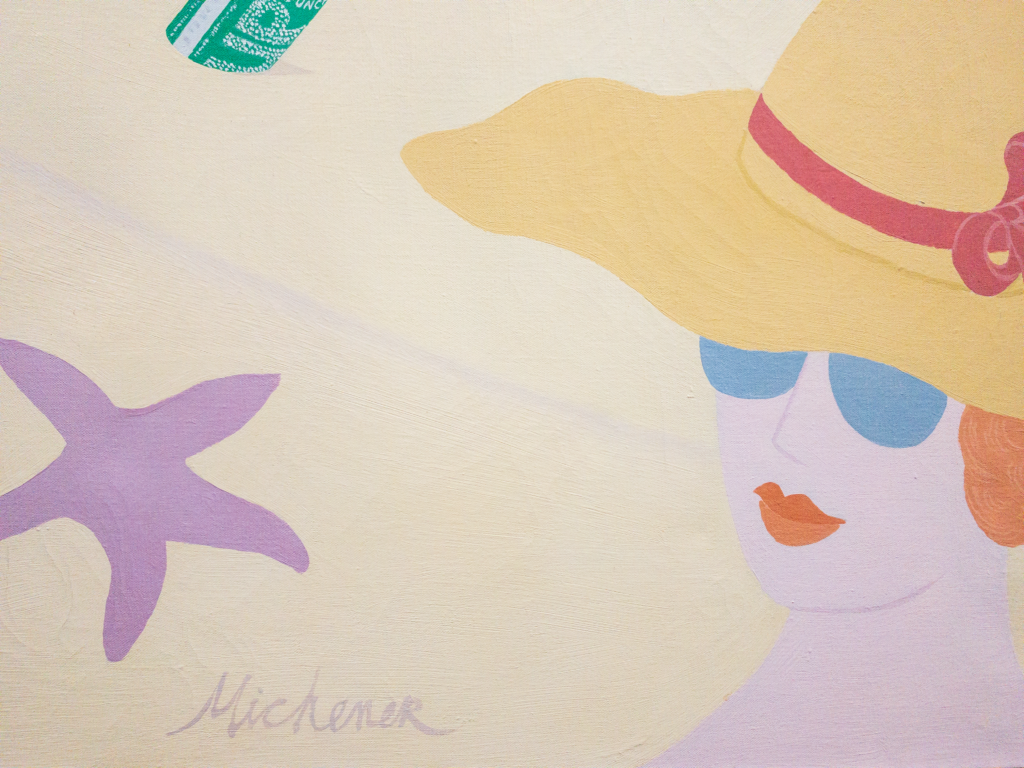 Close up of artist signature and woman in sun hat. Robert Michener painting 'The Good Old Days Were Never Like This'