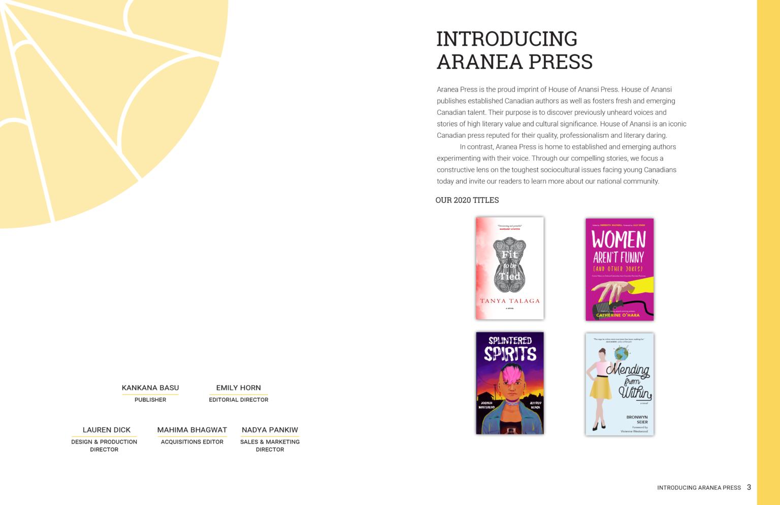 Aranea Press project materials – catalogue int