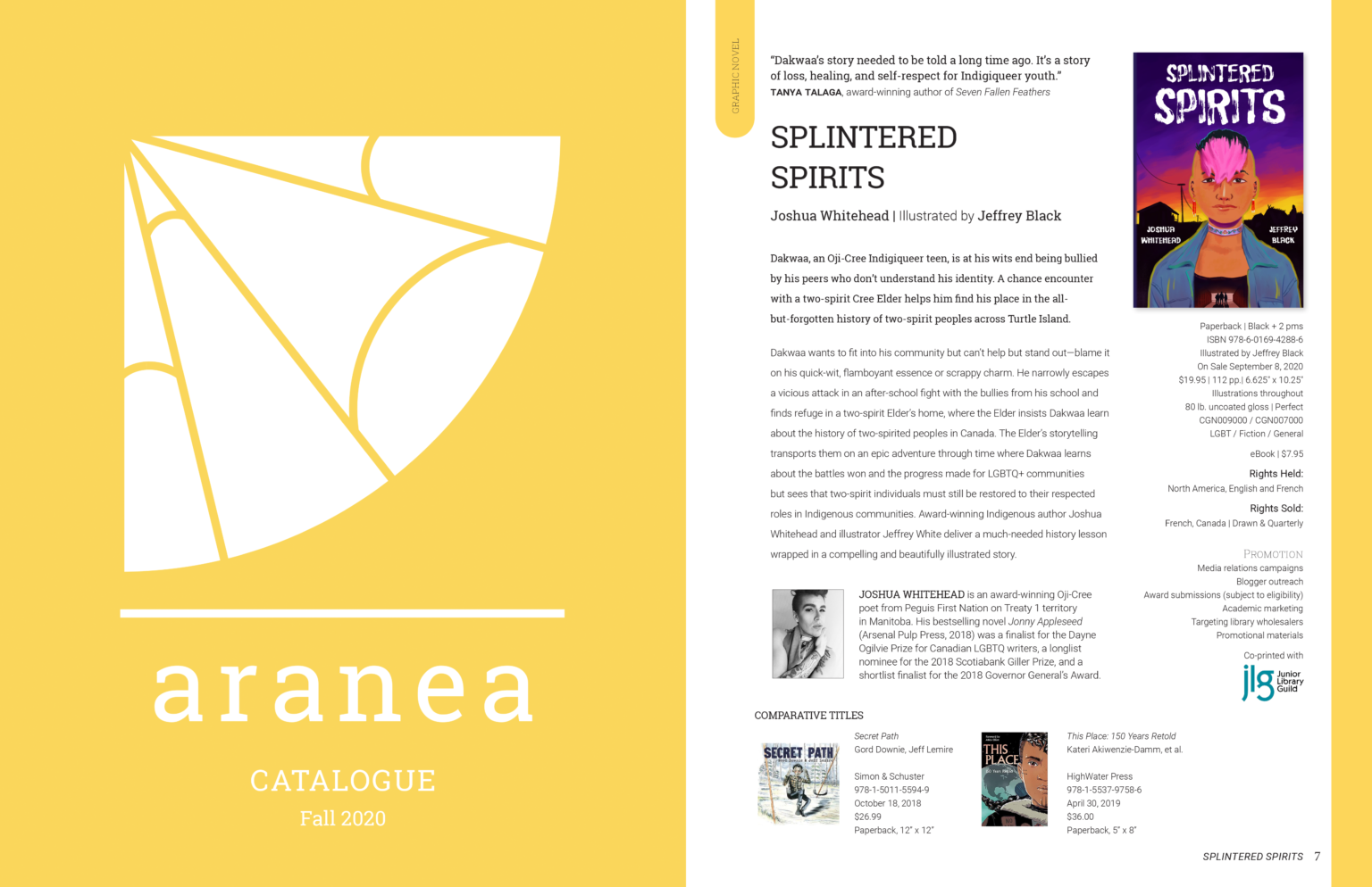 Aranea Press project materials – catalogue cover and Splintered Spirits tip sheet