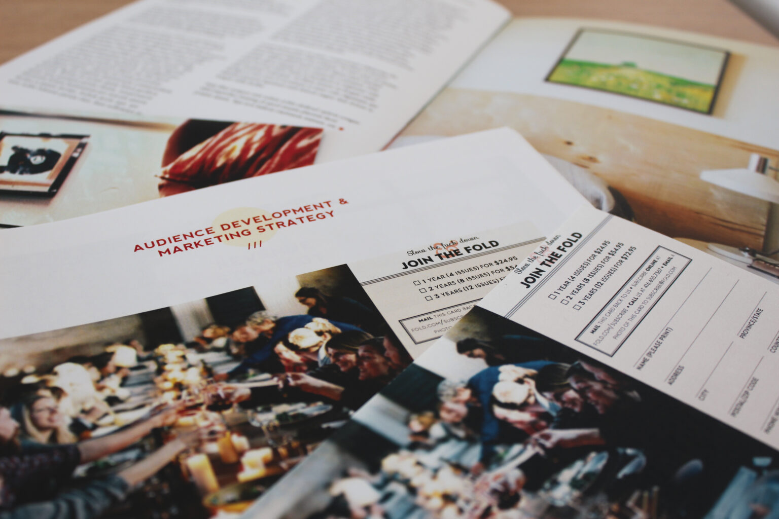 Fold project materials – marketing strategy and subscription card