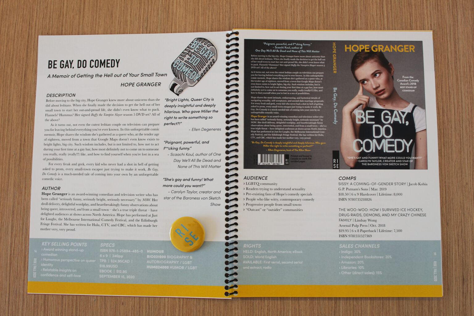 RISE project materials – Be Gay Do Comedy tip sheet spread