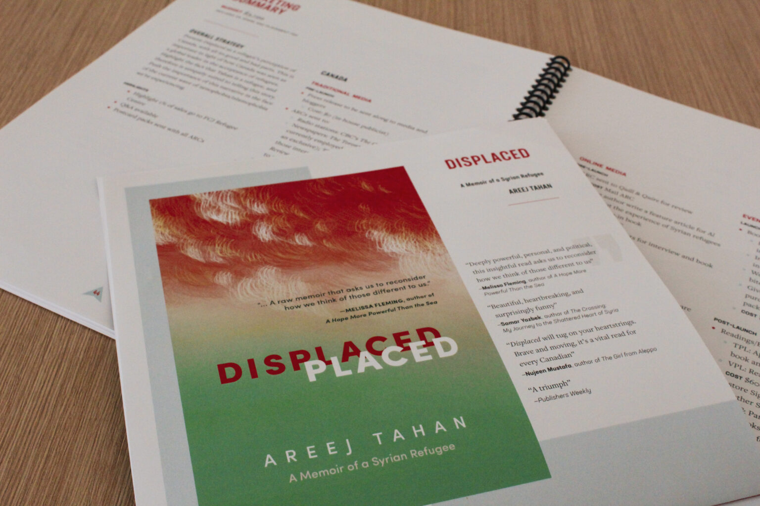 Turn Point Press project materials – Displaced catalogue page