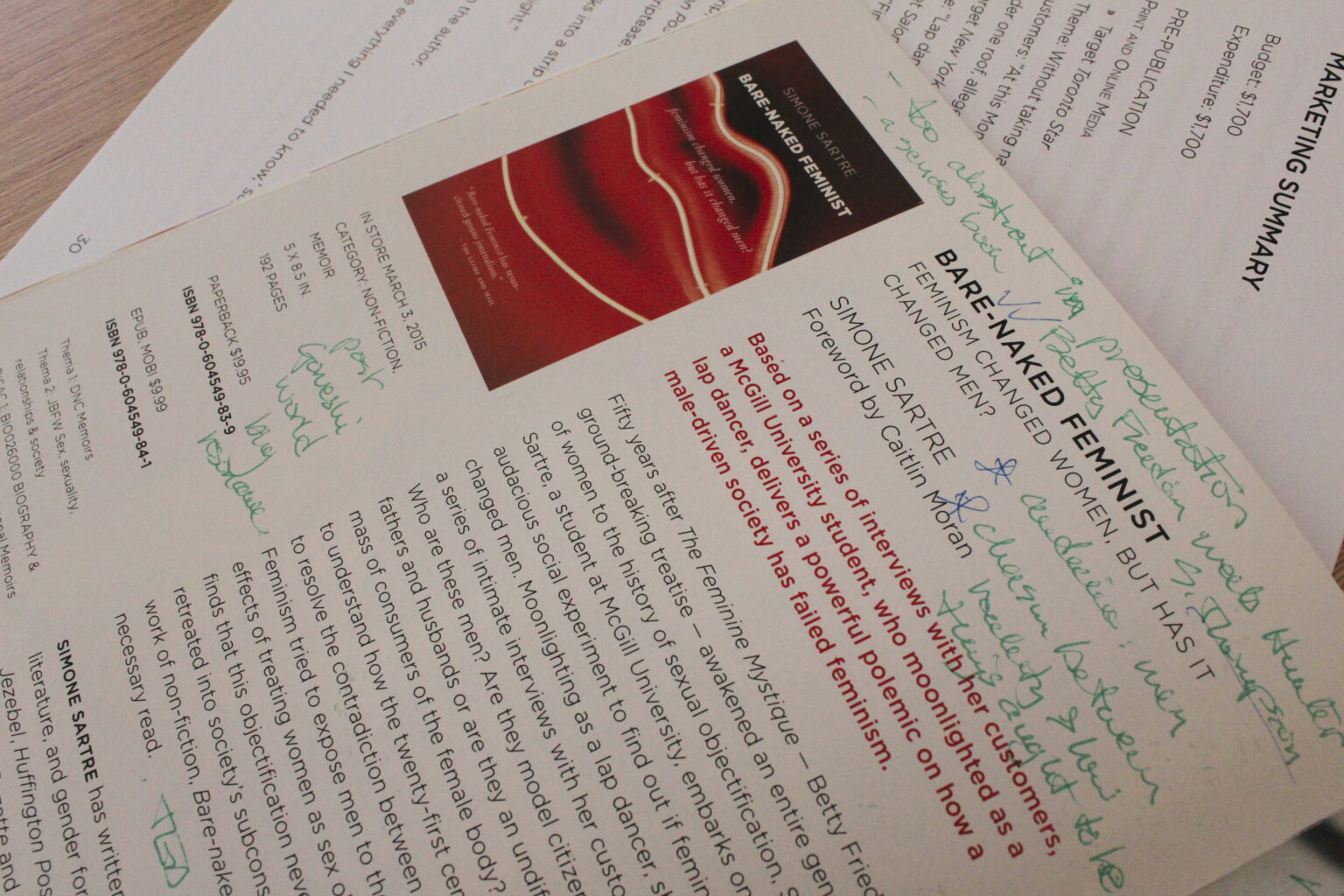 Vortext Press project materials – annotated catalogue pages