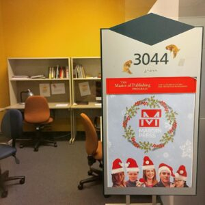 Christmas themed project room poster for Margin Press.