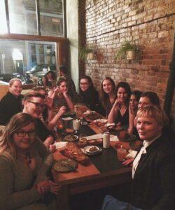 MPub students at a social dinner