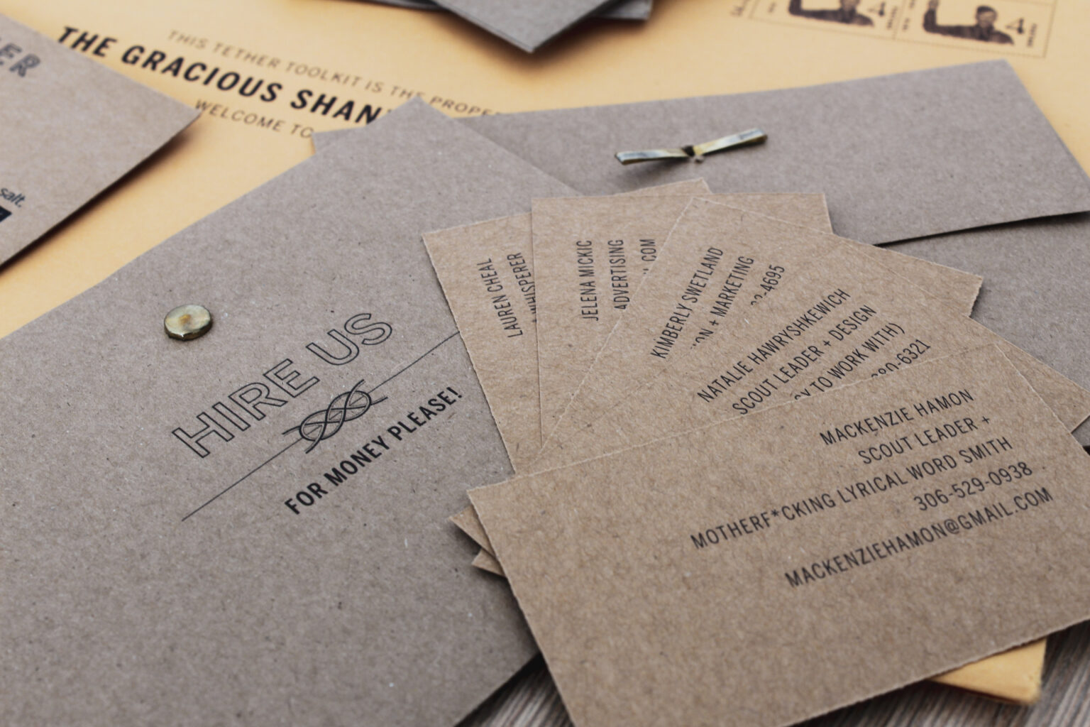 Tether Project Materials – Team business cards