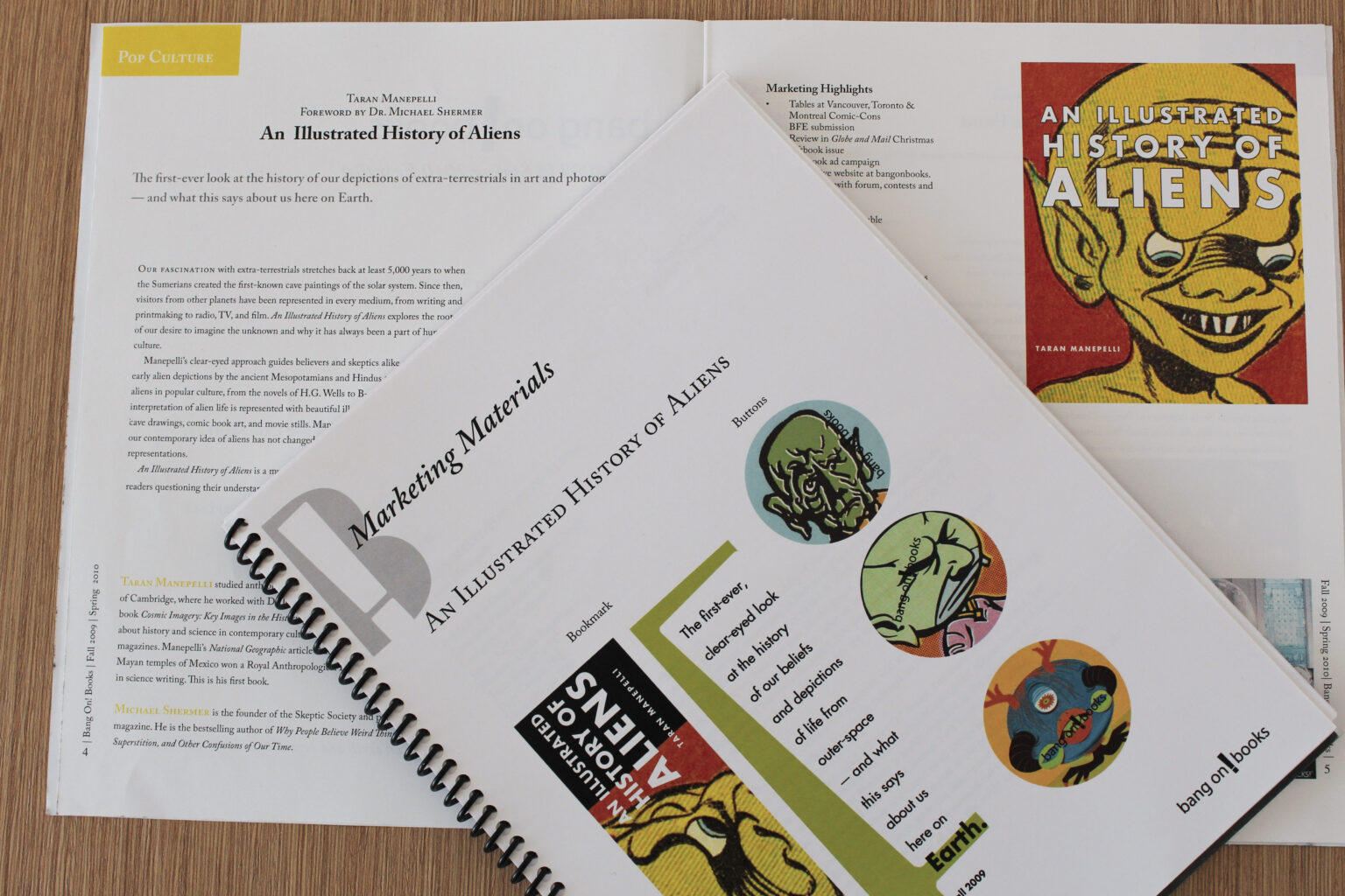 Bang On! Books project materials – An Illustrated History of Aliens tip sheet and marketing materials