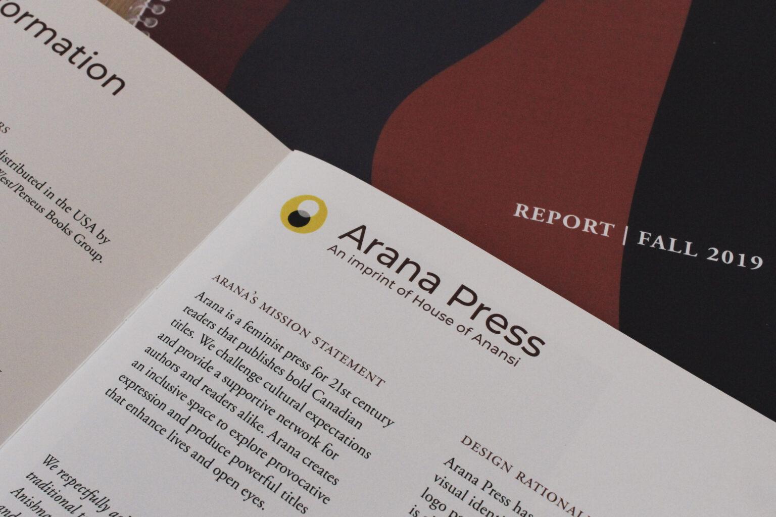 Arana Press project materials – internal close up, mission statement